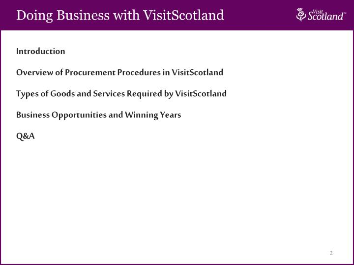 Doing Business with VisitScotland