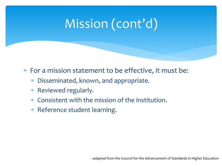 Mission (cont'd)