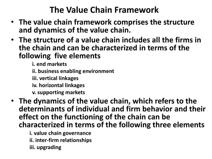 The value chain framework