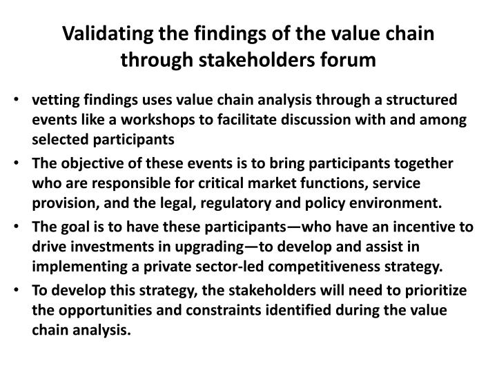 Validating the findings of the value chain through stakeholders forum