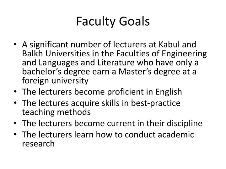 Faculty Goals