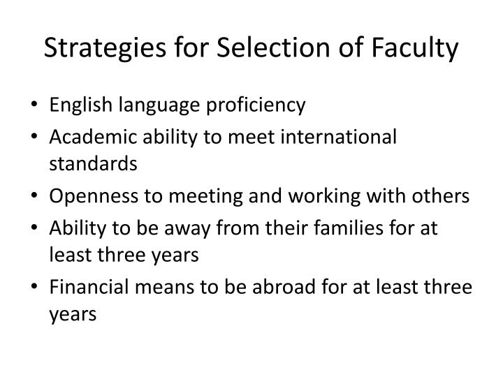 Strategies for Selection of Faculty