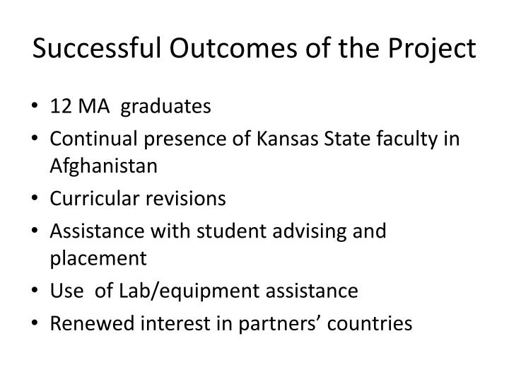 Successful Outcomes of the Project