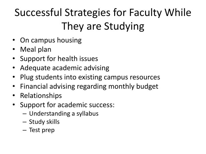 Successful Strategies for Faculty