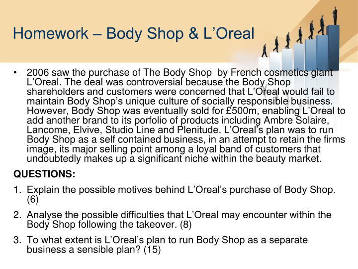 Homework – Body Shop & L'Oreal