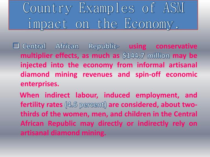 Country Examples of ASM impact on the Economy.