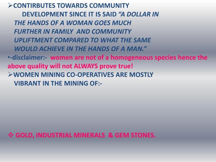 CONTIRBUTES TOWARDS COMMUNITY