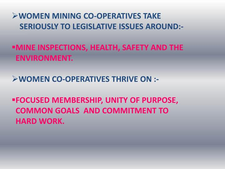 WOMEN MINING CO-OPERATIVES TAKE