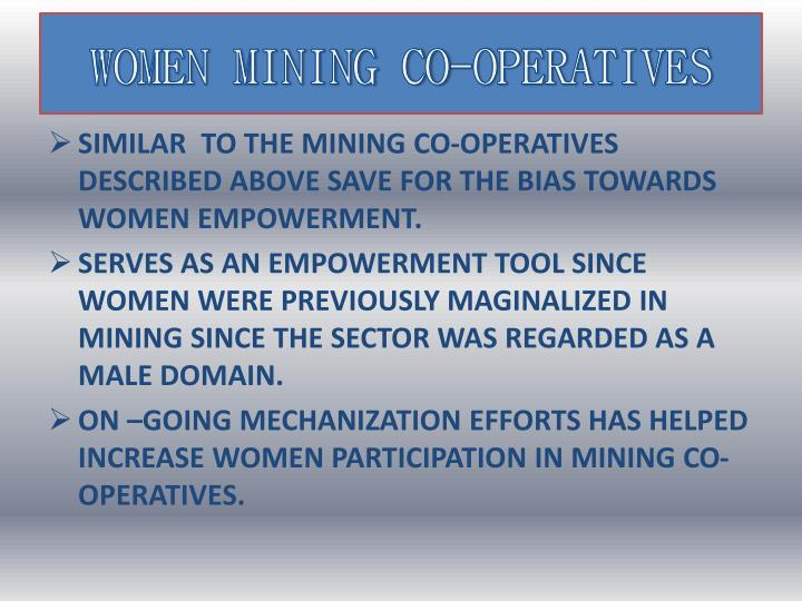 WOMEN MINING CO-OPERATIVES