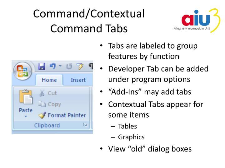 Command/Contextual Command Tabs