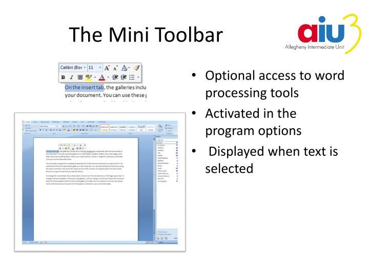 The Mini Toolbar