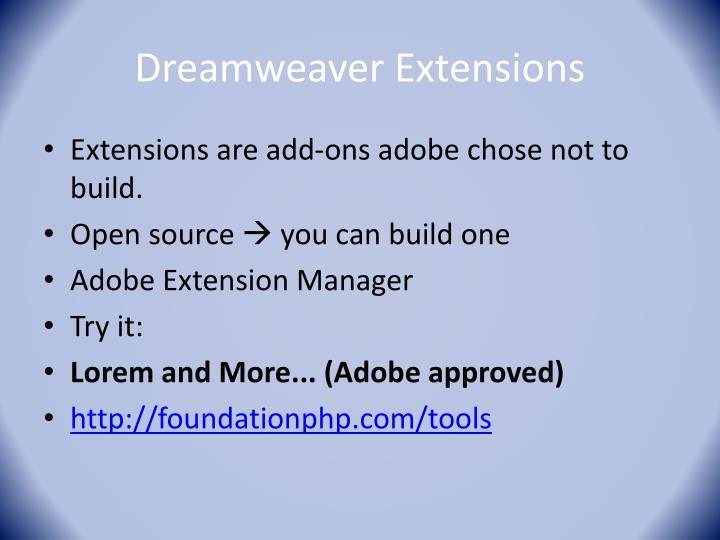Dreamweaver Extensions