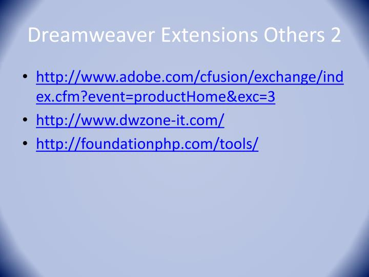 Dreamweaver Extensions O