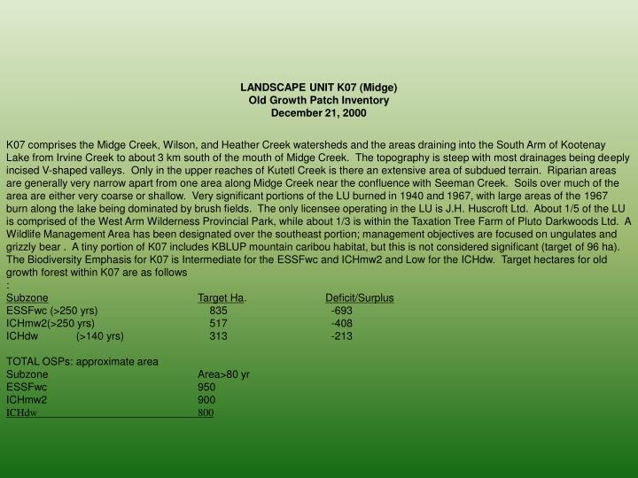 LANDSCAPE UNIT K07 (Midge)