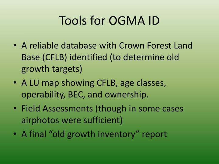 Tools for OGMA ID