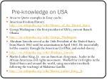 pre knowledge on usa