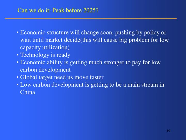 Can we do it: Peak before 2025?