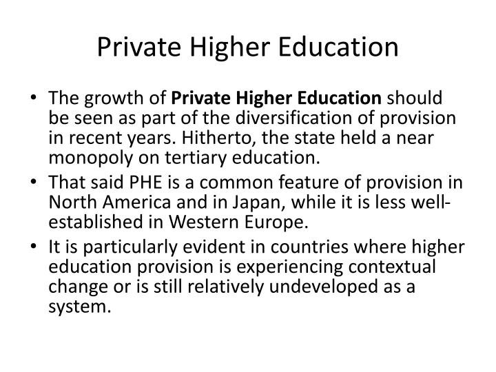 Private higher education