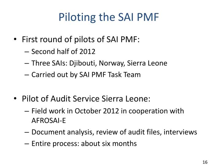 Piloting the SAI PMF