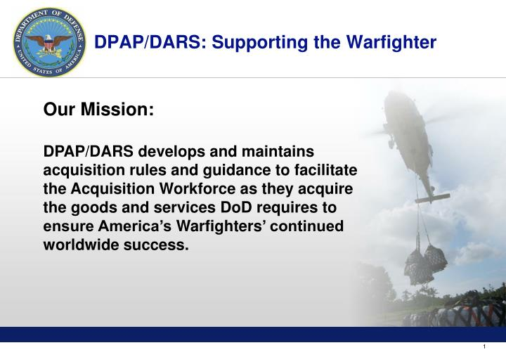 Dpap dars supporting the warfighter