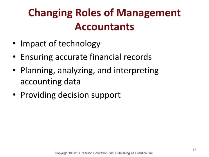 how the role of management accountant has changed In 1991, the name was changed again to the institute of management accountants the first chapter was formed in chicago in 1920, and the first annual conference was held in atlantic city.