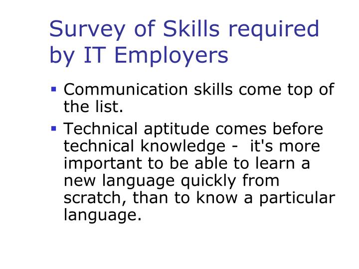 Survey of Skills required by IT Employers