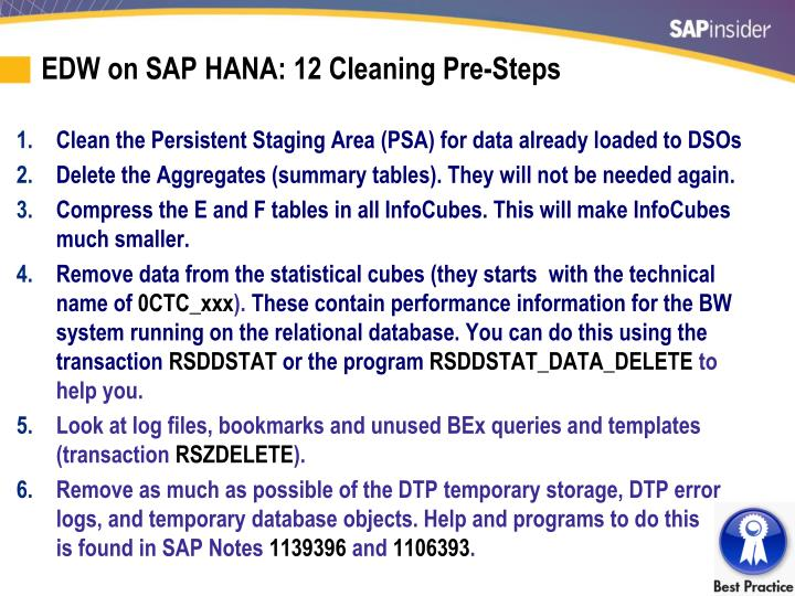 EDW on SAP HANA: 12 Cleaning Pre-Steps