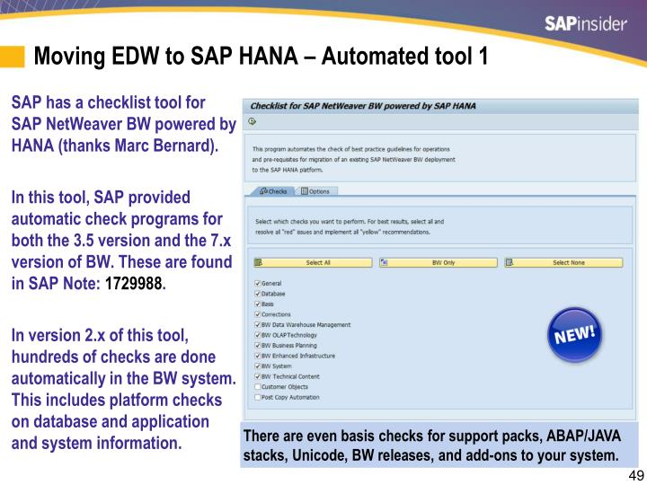 Moving EDW to SAP HANA – Automated tool 1