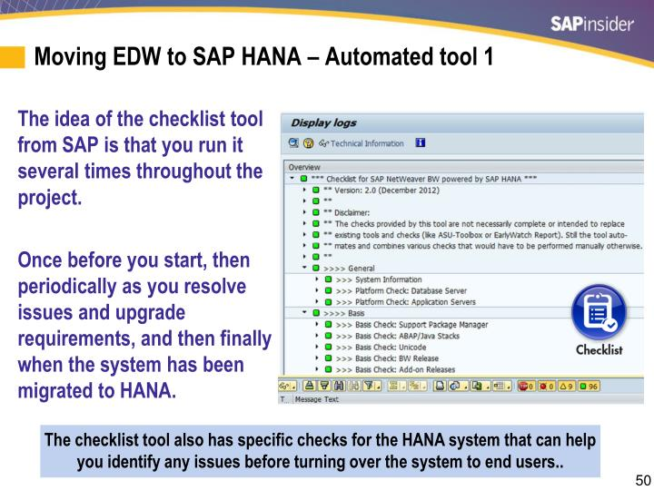 Moving EDW to SAP HANA – Automated tool 1