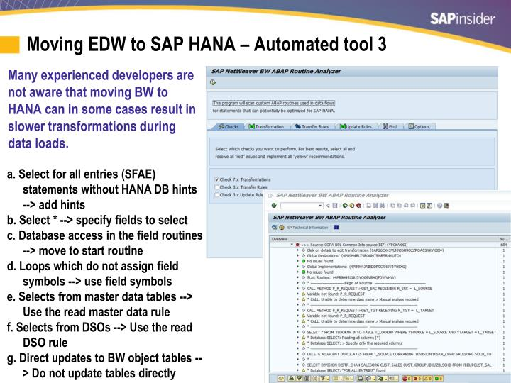 Moving EDW to SAP HANA – Automated tool 3