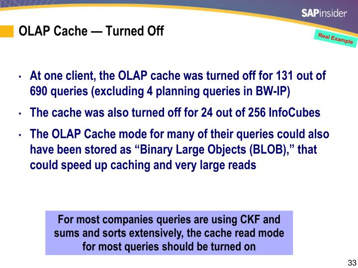 OLAP Cache — Turned Off
