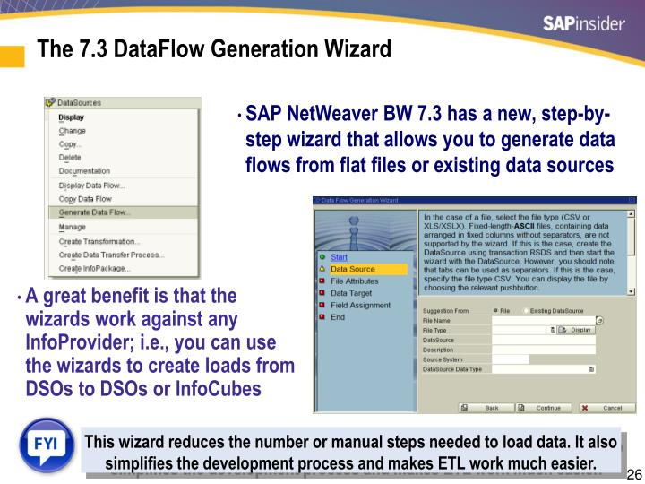 The 7.3 DataFlow Generation Wizard