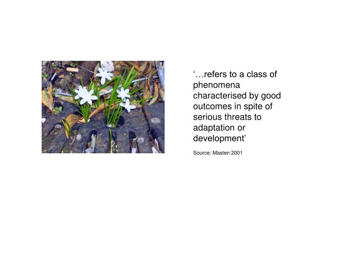'…refers to a class of phenomena characterised by good outcomes in spite of serious threats to a...