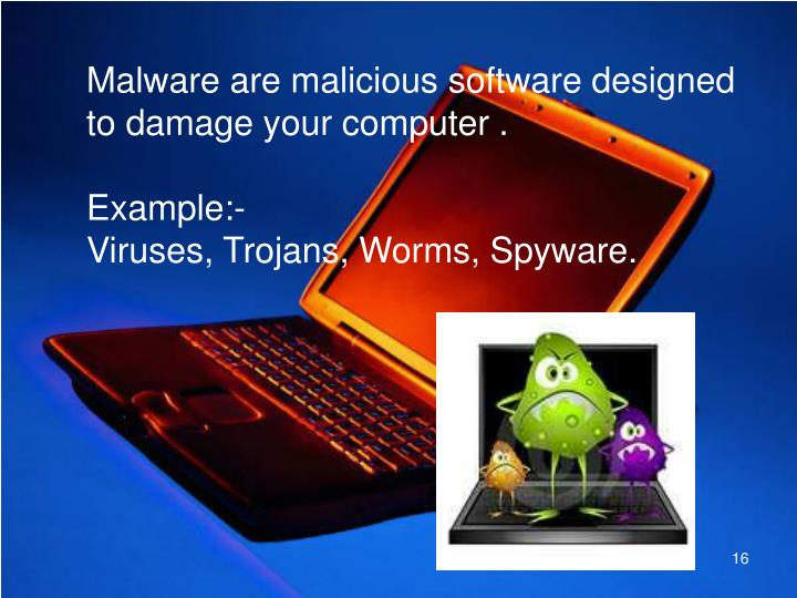 Malware are malicious software designed to damage your computer .