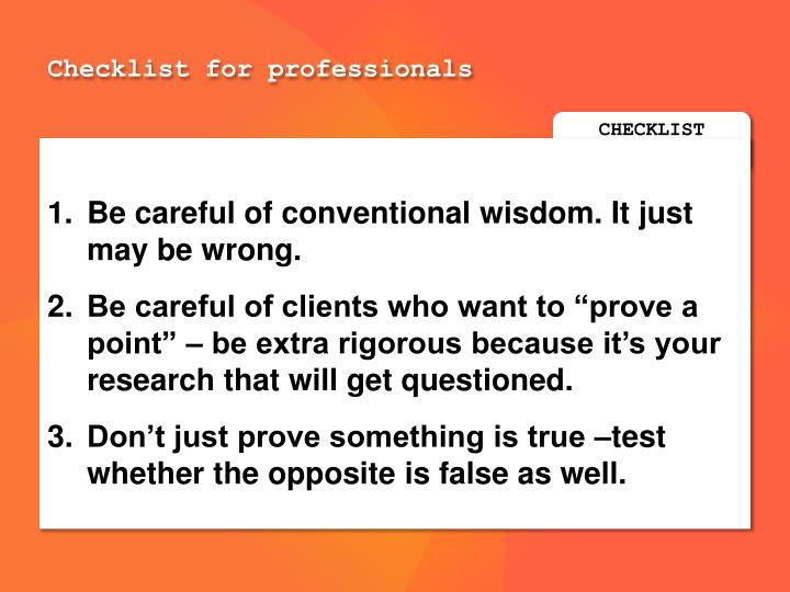Checklist for professionals