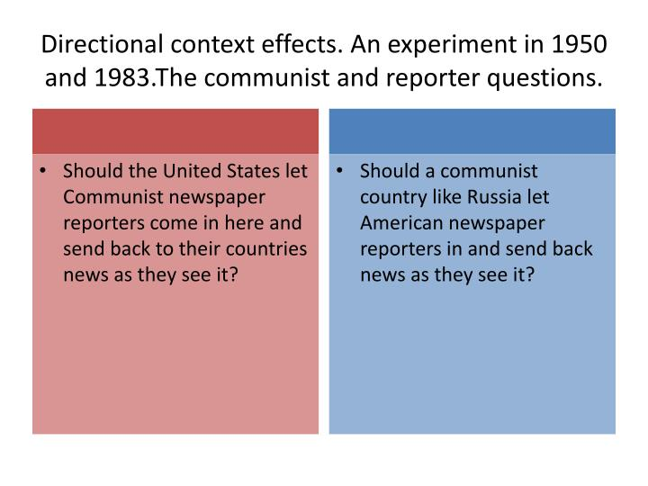 Directional context effects. An experiment in 1950 and 1983.The communist and reporter questions.