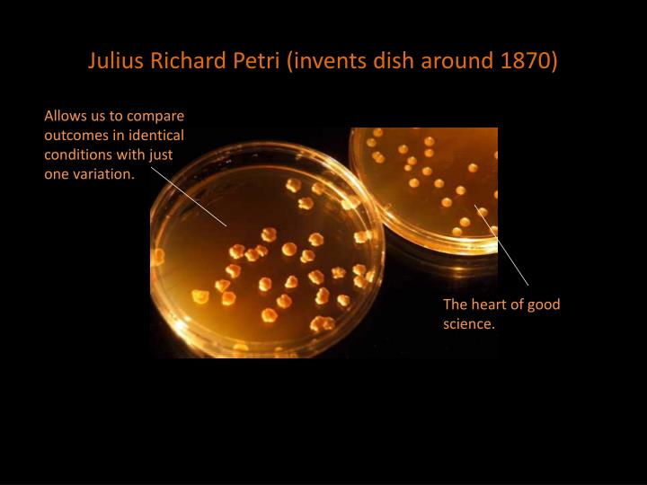 Julius Richard Petri (invents dish around 1870)