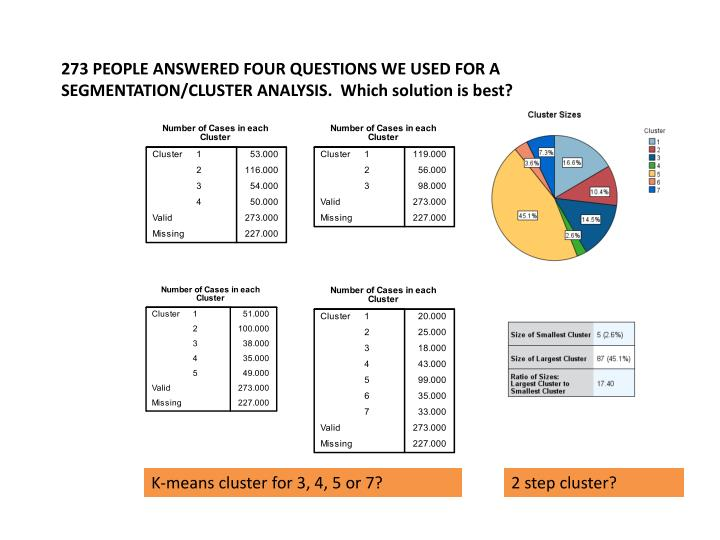 273 PEOPLE ANSWERED FOUR QUESTIONS WE USED FOR A SEGMENTATION/CLUSTER ANALYSIS.  Which solution is best?