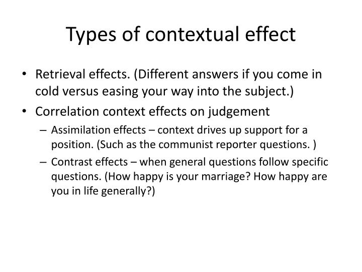 Types of contextual effect