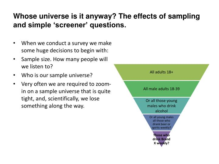 Whose universe is it anyway? The effects of sampling and simple 'screener' questions.