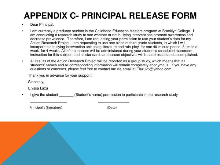Appendix C- Principal Release Form