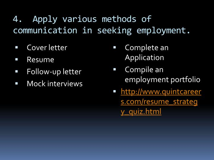 4.  Apply various methods of communication in seeking employment.