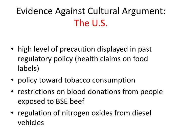 Evidence Against Cultural Argument: