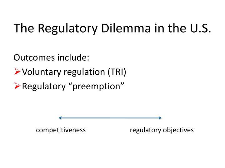 The Regulatory Dilemma in the U.S.