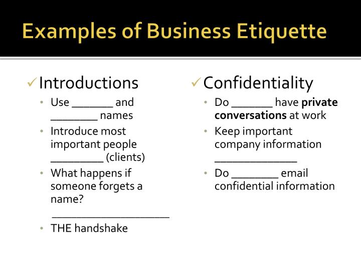 PPT - Business Etiquette U0026 Netiquette PowerPoint Presentation - ID1680914