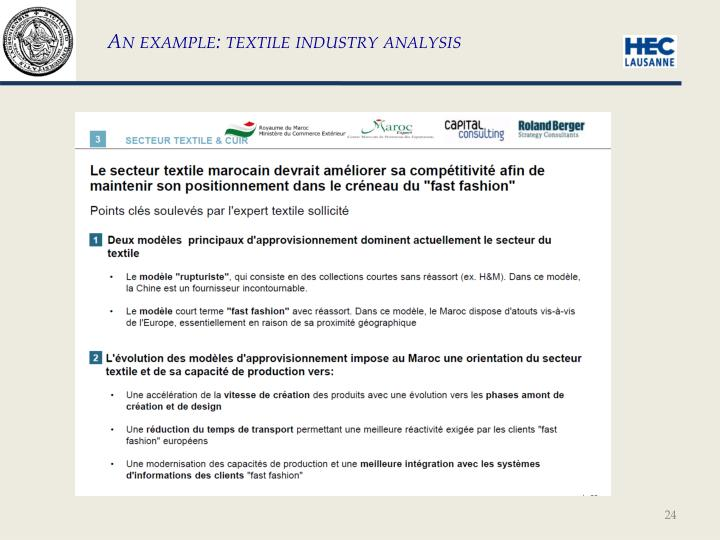 An example: textile industry analysis