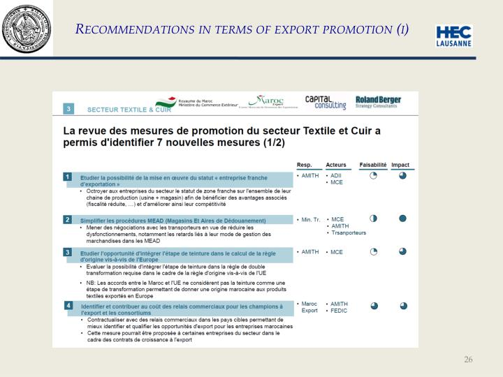 Recommendations in terms of export promotion (i)