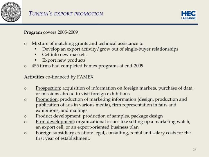 Tunisia's export promotion