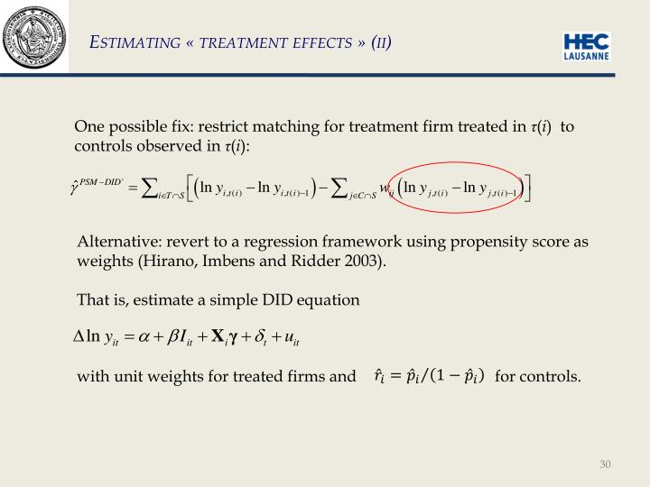 Estimating « treatment effects »