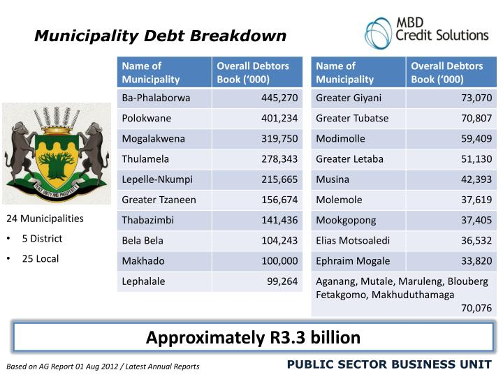Municipality Debt Breakdown